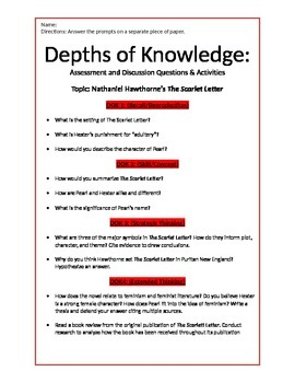 The Scarlet Letter Depths of Knowledge (Blooms) Questions