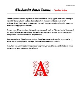 The Scarlet Letter Diaries writing assignment