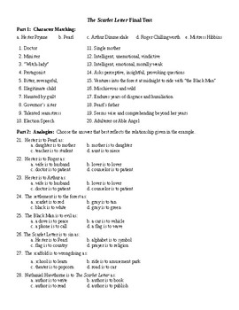 The Scarlet Letter Final Unit Test & KEY