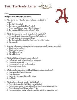 The Scarlet Letter   Final Unit Test and Key by The Leaders in