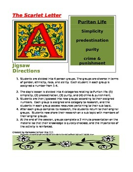 The Scarlet Letter Jigsaw Activity