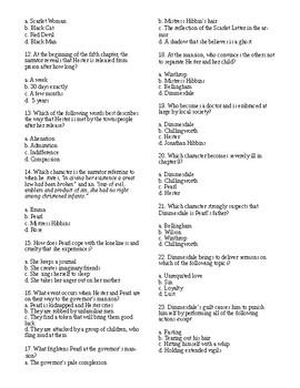 The Scarlet Letter Test Nathaniel Hawthorne 40 Question Multiple