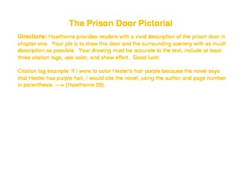 The Scarlet Letter - Prison Door Pictorial - Post-reading ch. 1 activity