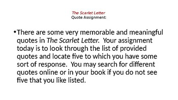 The Scarlet Letter Quote Assignment