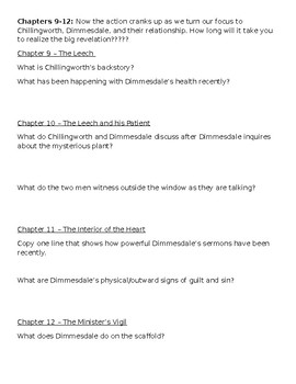 The Scarlet Letter Reading Guide
