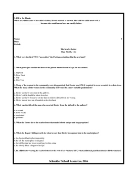 The Scarlet Letter Reading Quiz (Ch. 1-3)