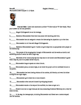 The Scarlet Letter Reading Quiz Chapter 11&12