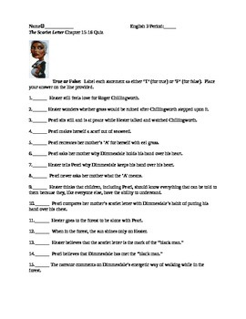 The Scarlet Letter Reading Quiz Chapter 15 & 16