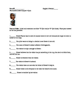 The Scarlet Letter Reading Quiz Chapter 4