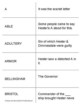 The Scarlet Letter Study Flash Cards