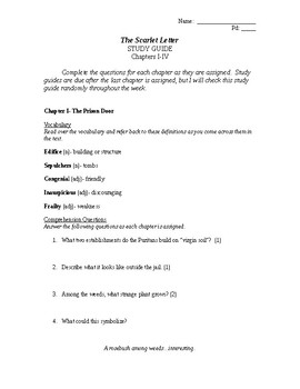 The Scarlet Letter Study Guide Chapters 1-4 with Vocabulary