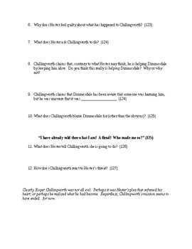 The Scarlet Letter Study Guide Chapters 13-16