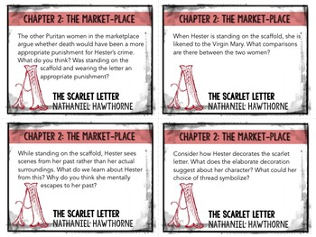 The Scarlet Letter Task Cards: Quizzes, Discussion Questions, Bell-Ringers