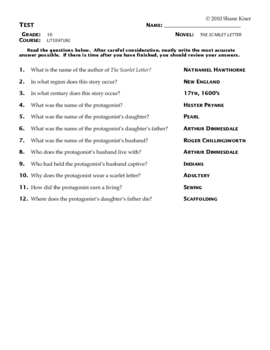 the scarlet letter test answers by zooot | teachers pay teachers