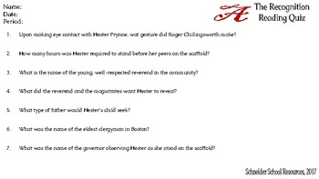 The Scarlet Letter: The Recognition (CH.3) Reading Quiz