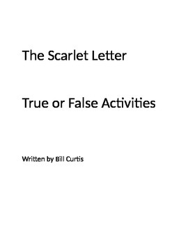 The Scarlet Letter True or False Activities