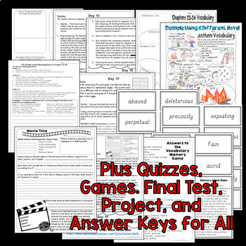 scarlet letter unit - vocabulary, quizzes, activities, test, project