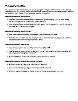 The Scarlet Letter Unit Packet/Study Guide