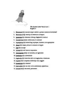 The Scarlet Letter Vocab Lists 1-5