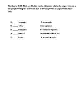 The Scarlet Letter Vocab Quizzes 1-5 and Answer Keys
