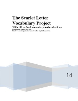 The Scarlet Letter Vocabulary Project, with 111 Definitions and Rubric