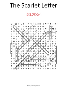 The Scarlet Letter Word Search Puzzle