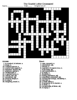 The Scarlet Letter (ch 20&21) Word Search and Crossword w/KEYS