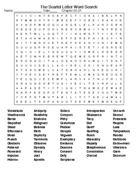 the scarlet letter ch 20 21 word search and crossword w keys tpt. Black Bedroom Furniture Sets. Home Design Ideas