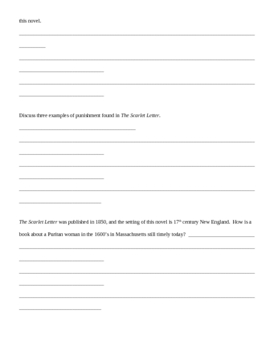 The Scarlet Letter Writing Assignment Worksheet: Topic Sentences