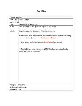 """The Scarlet Letter"" by Nathaniel Hawthorne - Novel Study Unit Plan"