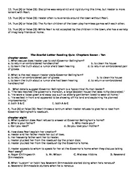 The Scarlet Letter by Nathaniel Hawthorne Reading Quizzes