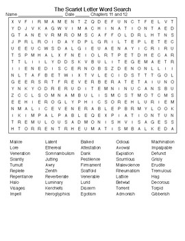 The Scarlet Letter c 11&12 Crossword Word Search with KEYS