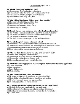 The Scarlet Letter ch. 6-10 multiple choice quiz WITH KEY