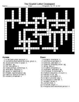 The Scarlet Letter  ch16,17&18-Word Search and Crossword wKEYS
