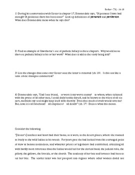 The Scarlet Letter group work, chapters 16-18