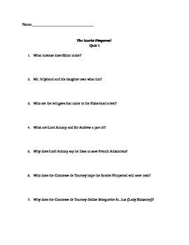 The Scarlet Pimpernel Quizzes