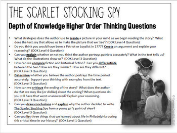 The Scarlet Stocking Spy Differentiated Interactive Notebook Reading Activities