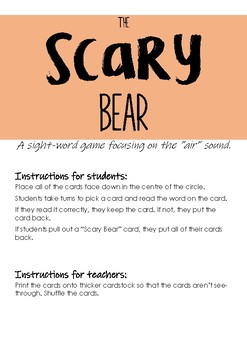 """The Scary Bear - """"air"""" sound sight word game"""