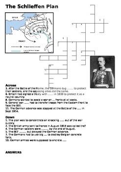 The Schlieffen Plan Crossword - World War One