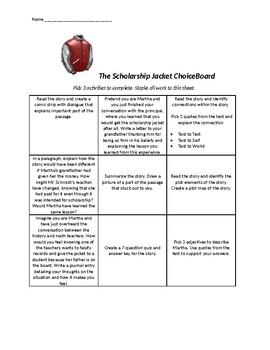 The Scholarship Jacket ChoiceBoard