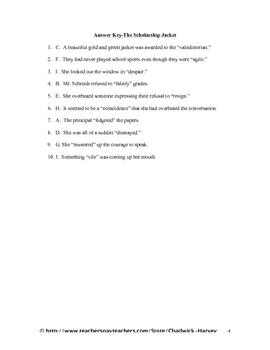 The Scholarship Jacket Vocabulary Quiz Worksheet
