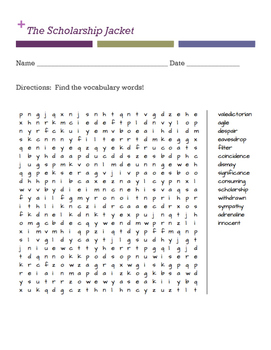 The Scholarship Jacket Word Search