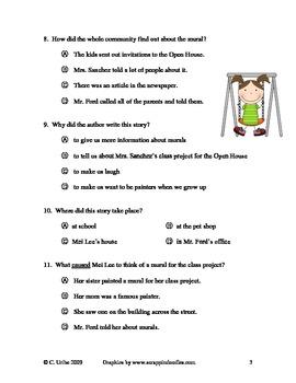 The School Mural Reading Comprehension Test/Quiz ~ Second Grade