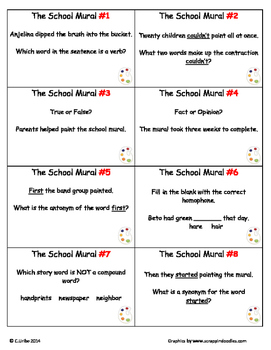 The School Mural ~ Scoot Game ~ Language Arts ~ Task Cards