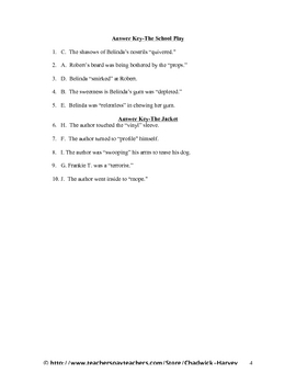 The School Play and The Jacket Vocabulary Quiz Worksheet