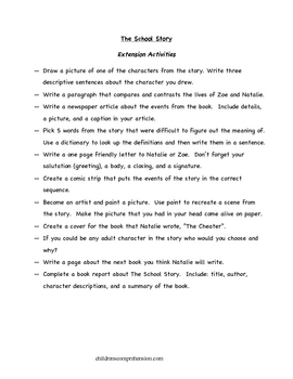 The School Story Comprehension Questions and Literature Activities