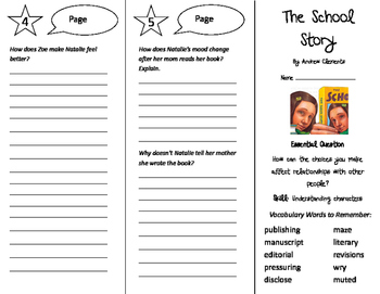 The School Story Trifold - Journeys 6th Grade Unit 1 Week 1 (2014, 2017)