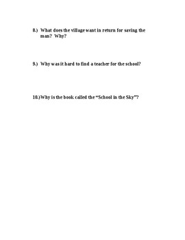 The School in the Sky Comprehension Test