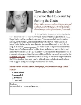 The Schoolgirl Who Survived the Holocaust by Fooling the Nazis (Cloze Reading)