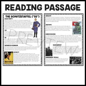 "The Schutzstaffel ""SS"" Reading Comprehension Worksheet, Nazi, Hitler, Jews"